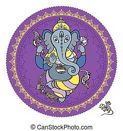 seigneur, main, ganesha, illustration., dessiné