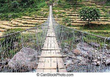 seil, hängender , hängebrücke