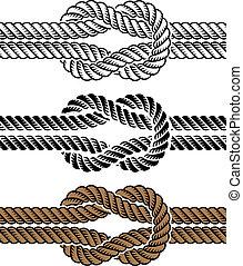 seil, symbole, vektor, schwarz, knoten
