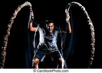 seile, lager, stiefel, freigestellt, schwarzer hintergrund, fitness, übungen, mann