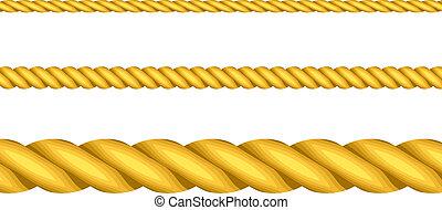 seile, vektor, abbildung, gold
