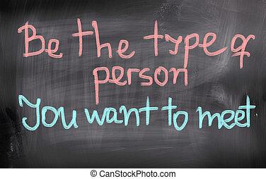 sein, begriff, person, wollen, treffen, sie, art