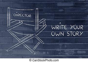 sein, der, direktor, von, dein, eigen, leben, verfolgung,...