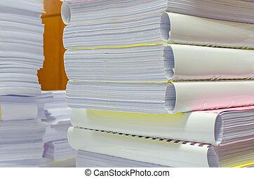 sein, dokumente, geleitet, hoch, warten, haufen , buero,...