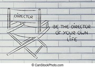 sein, eigen, g, direktor, träume, treffen, leben, dein, verfolgung