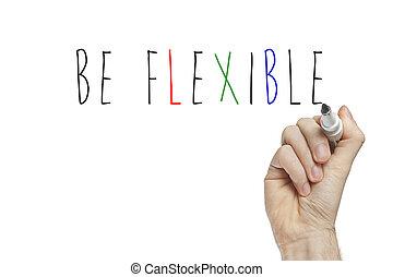 sein, hand, flexibel, schreibende