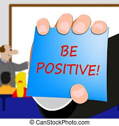 sein, positiv, abbildung, optimist, 3d, shows, mindset