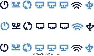 sein, satz, illustration., freigestellt, gebraucht, radio, hintergrund., vektor, router., buechse, symbole, weißes, fernmeldeverwaltungen