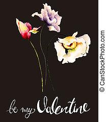 sein, titel, abbildung, valentine, aquarell, blumen-, mein