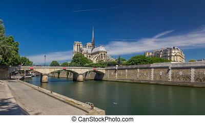 Seine and Notre Dame de Paris timelapse hyperlapse is the...