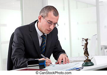 seine, arbeitsplatz, rechtsanwalt