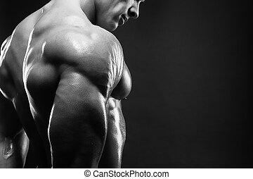 seine, ausstellung, zurück, muscled, modell, mann