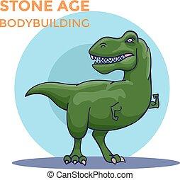 seine, biceps., hand, vektor, gezeichnet, tyrannosaur, karikatur, shows