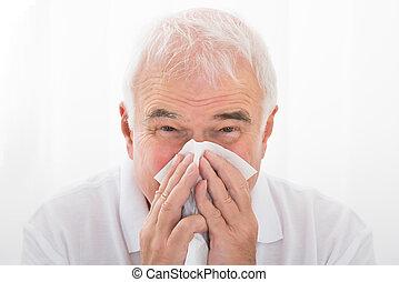 seine, blasen, infected, nase, kalte , mann