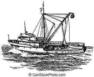 Seine boat at sea