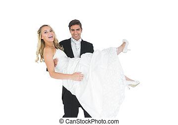 seine, bräutigam, ehefrau, lächeln, hebend