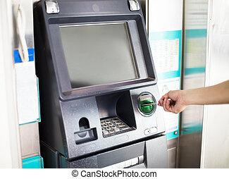 seine, card., atm maschine, kredit, gebrauchend, mann