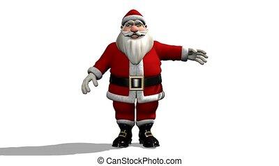 seine, claus, hand, winkende , santa, karikatur