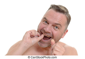 seine, dental, flossing, flockseide, z�hne, mann