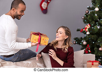 seine, ehefrau, geben, ehemann, freudig, geschenk, mögen