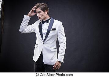 seine, hals, stilvoll, smoking, herr, schleife, elegant, luxus, klage, schlips, weißes, mann, ungefähr