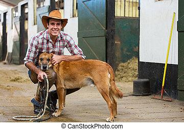 seine, hund, cowboy