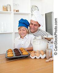 seine, ihr, präsentieren, bezaubern, vater, muffins, sohn