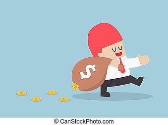seine, leck, tasche, geld, verlieren, geschäftsmann