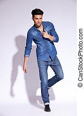seine, mã¤nnerhemd, jeans, ihr, besitz, kragen, mann