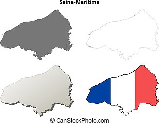 Seine-Maritime, Upper Normandy outline map set -...