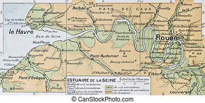 Seine mouth - Mouth of Seine river old map. By Paul Vidal de...