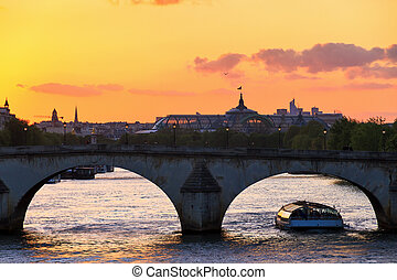 Seine palace sunset bridge