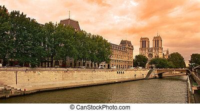 seine, paris, notre, de, cathedral., rivière, dame