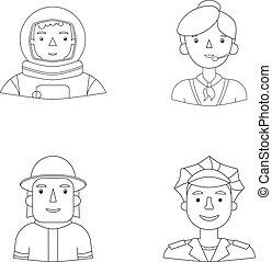 seine, polizist, feuerwehrmann, mitarbeiter, cap., astronaut...