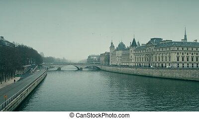 Seine river and famous Conciergerie, former prison and...