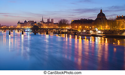 Seine river and Old Town of Paris