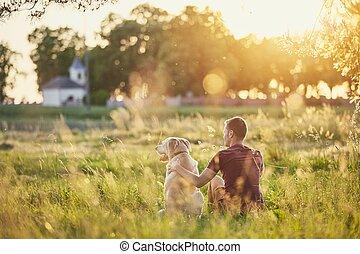 seine, sonnenuntergang, hund, mann