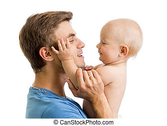 seine, vater, sohn, baby, zeitvertreib, hände, spaß, isolat, haben, glücklich