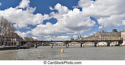 Seine with bridges view in spring