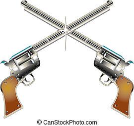 seis, armas, pistolas, ocidental, corte arte