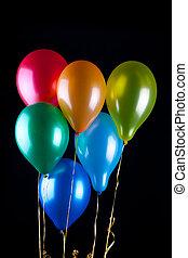 seis, balões, ligado, pretas