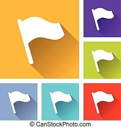 seis, bandeira, ícones