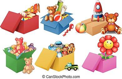 seis, cajas, de, juguetes