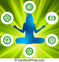 seis, chakras, y, espiritualidad, symbols., eps, 8