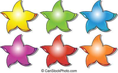 seis, colorido, estrellas