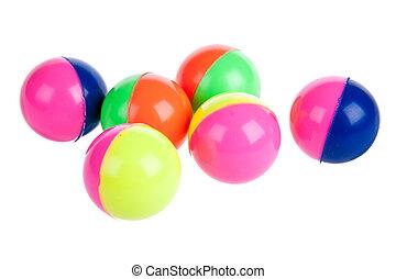 seis, coloridos, borracha, bolas, isolado, branco
