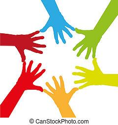seis, coloridos, mãos, tocar, junto, -, ilustração