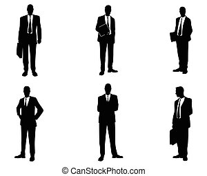 seis, conjunto, hombres de negocios