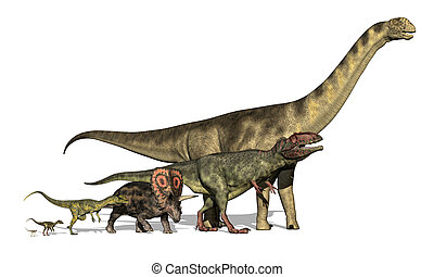 seis, dinosaurios, diminuto, inmenso