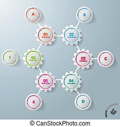 seis, engrenagens, hexágono, seis, círculos, infographic, desenho